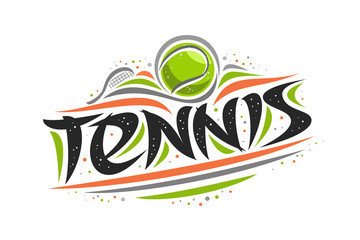 Vector logo for Tennis sport, creative contour illustration of hitting ball in goal, original decorative brush typeface for word tennis, simplistic cartoon sports banner with lines and dots on white.
