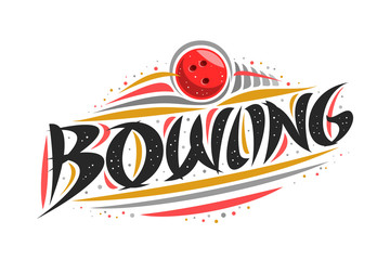 Vector logo for Bowling, outline creative illustration of throwing ball in goal, original decorative brush typeface for word bowling, abstract simplistic sports banner with lines and dots on white.