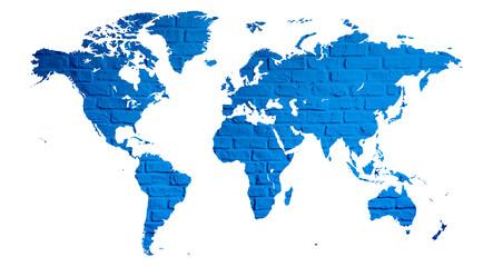 Obraz mapa świata z cegły jako plakat lub grafika na ścianę  - fototapety do salonu
