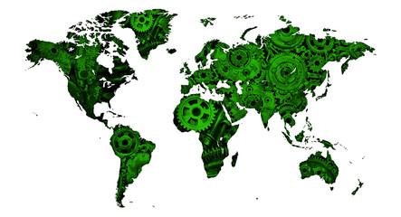 Obraz mapa bardzo mechanicznego świata jako plakat lub grafika na ścianę  - fototapety do salonu