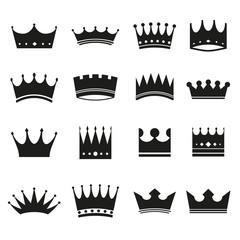 Set of modern crowns icons