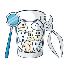 comic teeth in glass with pliers and mirror