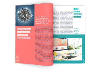 Magazine Layout with Coral and Green Accents