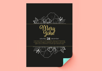 Wedding Invitation Layout with Floral Elements