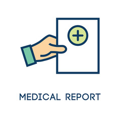 Medical Report outline or line flat vector icon - mobile application or button design - Vector design logo for mobile app