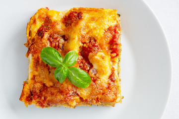 cheese and tomato sauce on stuffed cannelloni piece decorated with basil