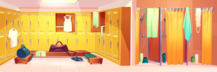 Vector gym interior - changing room with lockers and shower cabins with curtains. Sport club concept - dressing after training and washing. Cartoon shelves with clothes, towels.
