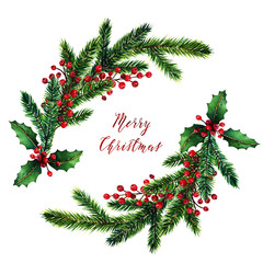 Merry Christmas,wreath, fir branches, red berries,card for you, handmade,watercolor illustrations
