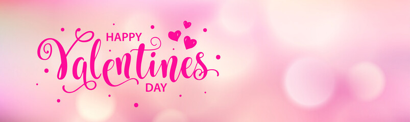 Happy Valentines Day web card, banner. Beautiful lettering calligraphy pink text with heart typography poster. Calligraphy inscription boke blurred pink background. Vector illustration.