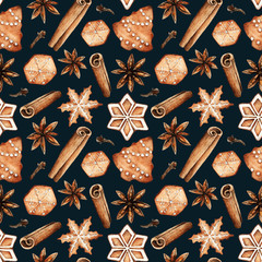 Christmas cookies,spices,gingerbread,card for you,handmade,watercolor illustrations,seamless pattern,black background