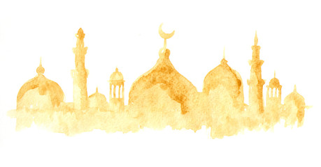 Ramadan Kareem Mosque or Masjid. Watercolor hand drawn illustration, isolated on white background