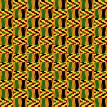 Kente Cloth Seamless Pattern - African Kente cloth repeating pattern design