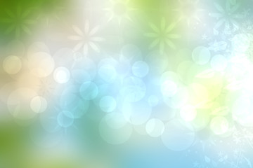 Abstract spring or summer flower background. Abstract flower background with beautiful green flowers, sun lights and blue sky. Nice flower texture.