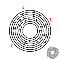 Black round maze. Game for kids. Children's puzzle. Many entrances, one exit. Labyrinth conundrum. Simple flat vector illustration isolated on white background. With place for your image.