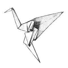 The origami crane isolated from the background. East art of origami. Paper bird. Hand drawn, ink, graphics, vintage illustration.