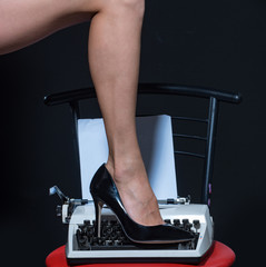 Foto op Canvas Akt Sexy legs. retro typewriter. modern fashion. fetish wear shoes on leg of woman. seducing you. love education. epilation and depilation. female skincare in spa. beauty. sexy secretary. delicious girl