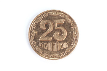 Ukrainian coin in denomination of 25 coins on a white background isolate