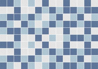 White and blue square ceramic tiles texture background.
