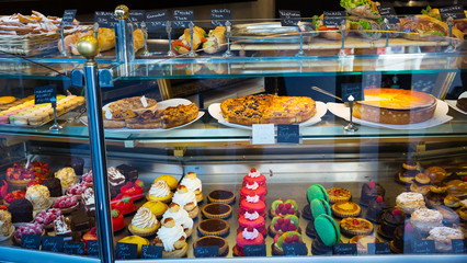 Confectionery shop window - cakes, pastries, desserts