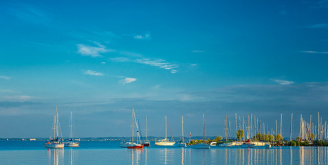 Sailboats in the port at lake Balaton, Hungary