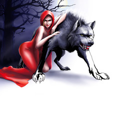 girl in a red hood hugs a wolf on a white background, art, illustration, graphic picture