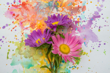 beautiful fowers on watercolor background