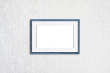 Blank photo frame mock up, light blue realistic  wooden framework on white plastered wall, 3D illustration