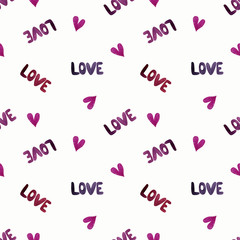 Seamless pattern with hearts and words love on white background. Watercolor illustration
