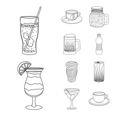 Vector illustration of drink and bar symbol. Set of drink and party vector icon for stock.