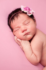 Newborn Baby Girl Sleeping on Pink Background
