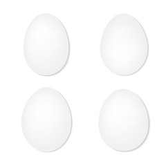 set of white eggs on a white background- vector illustration