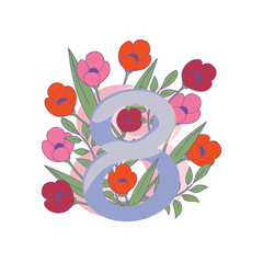 Figure eight with pink and red tulip flowers. International Women s day. 8 March. Spring holiday. Vector design