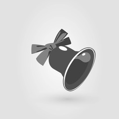 black and white bell, vector image