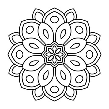 Outline Mandala. Ornamental round doodle flower isolated on white background. Geometric circle element. Vector illustration.