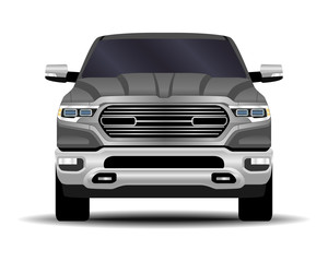 realistic car. truck, pickup. front view.
