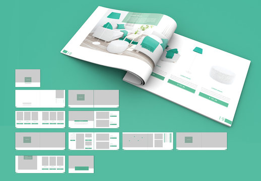 Catalog Layout with Green Accents