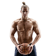 Basketball player with a ball. Photo of man shirtless isolated on white background. Strength and motivation