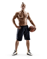 Young muscular basketball player with a ball. Photo of shirtless man, looking at camera, on white background. Strength and motivation. Full length