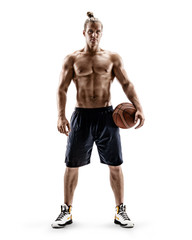 Handsome strong basketball player with a ball. Photo of shirtless man on white background. Strength and motivation. Full length