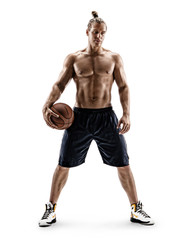 Young basketball player with a ball. Photo of attractive man shirtless isolated on white background. Full length. Strength and motivation