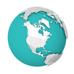 Fototapete - 3D Earth globe with blank political map dropping shadow on blue green seas and oceans. Vector illustration