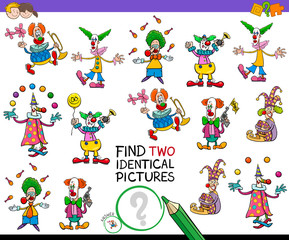 find two identical clowns game for kids