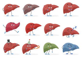 Cute liver positive and negative emotions organs set vector illustration.