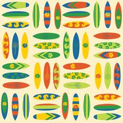 Vintage Surfboards seamless vector background. Surf sport background in retro style. Summer vacation travel illustration. Use for fabric, banner, beach wear, bikini, boardshort, Hawaiian shirt, decor.