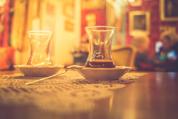 glass of tea on table