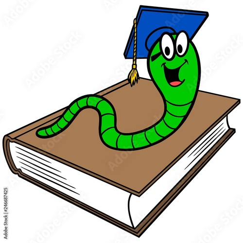 Bookworm And Book A Vector Cartoon Illustration Of A Bookworm And