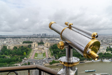 telescope at top of the city - eiffel tower paris