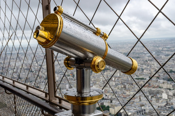 telescope at the eiffel tower in paris