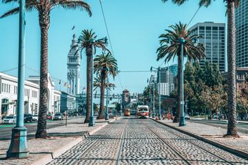May 10, 2018. San Francisco, USA. Famous classical tram in San Francisco.