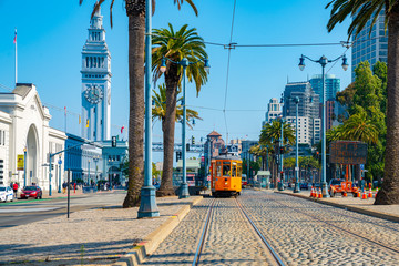 May 10, 2018. San Francisco, USA. Famous classical tram in San Francisco.